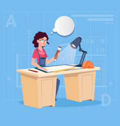 Cartoon woman builder sitting at desk working on vector
