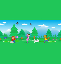Children in mount landscape seamless vector