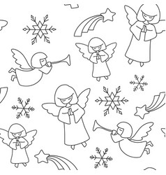 christmas pattern angels stars and snowflakes vector image