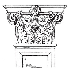 Corinthian pilaster capital swag vintage vector