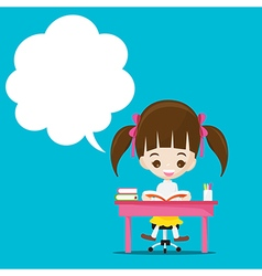 Cute little girl reading a book with speech bouble vector image