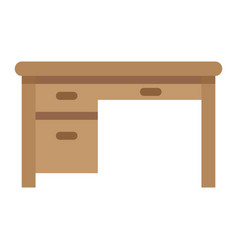 Desk flat icon furniture and interior vector