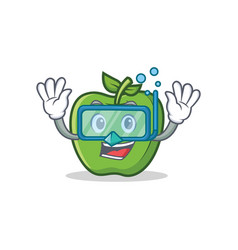Diving green apple character cartoon vector