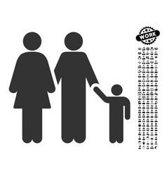 Family icon with work bonus vector