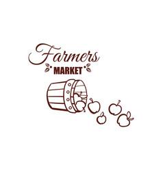 farmers market monochrome emblem vector image vector image
