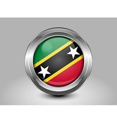 Flag of Saint Kitts and Nevis Metal and Glass Roun vector image vector image