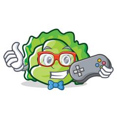 Gamer lettuce character cartoon style vector