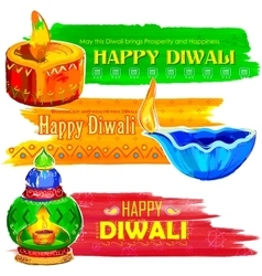 Happy diwali banner coloful watercolor diya vector