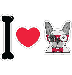 I love french bulldog hipster with hipster glasses vector image
