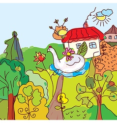 Kid drawing landscape house trees from fairytale vector