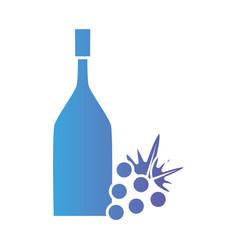 Line wine bottle with grape fruit vector