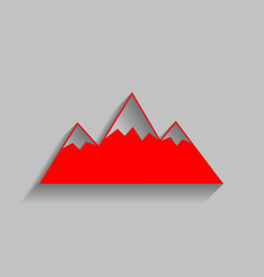 Mountain sign red icon with vector