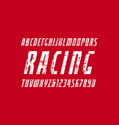 Narrow italic sans serif font in the sport style vector