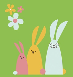 Rabbits family vector image vector image