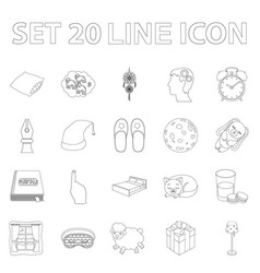 Rest and sleep outline icons in set collection for vector