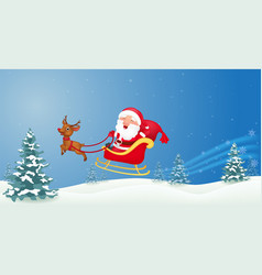Santa with christmas sled vector