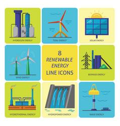 set of renewable energy flat style icons vector image vector image