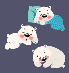 set of sleeping polar bears collection of cartoon vector image