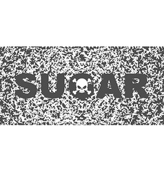 Sugar white death skull and text on background of vector