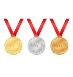 Three olympic games medals Gold medal Silver vector image