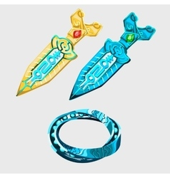 Two fantasy sword with runes and magical bracelet vector