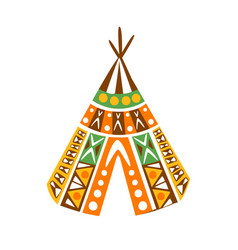 wigwam hut with decorative pattern textile native vector image