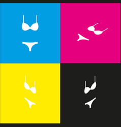 Women swimsuit sign white icon with vector