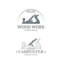 Woodwork label design vector