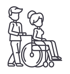 young man strolling with young woman in wheelchair vector image