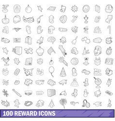 100 reward icons set outline style vector image vector image