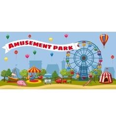 Amusement park landscape concept cartoon style vector