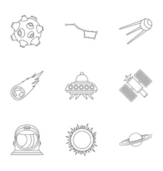 Universe icons set outline style vector image