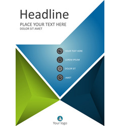 green blue cover template for business vector image