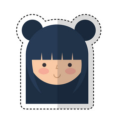 cute japanese doll head vector image