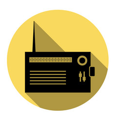 Radio sign   flat black icon vector