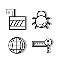 Set padlock and global with key and spider vector