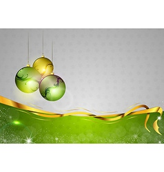 Christmas background two color green balls vector