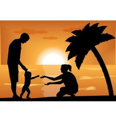 Family with a child at sunset vector