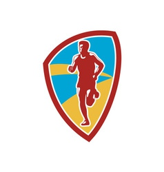 Marathon runner shield retro vector