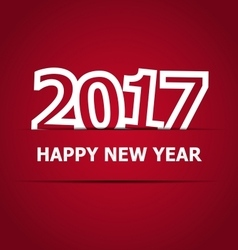 2017 happy new year on red background vector