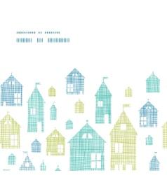 Houses blue green textile texture horizontal frame vector