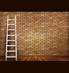 Vintage brick wall background with wooden ladder vector image