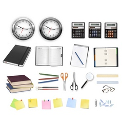 Big set clocks and office supplies vector