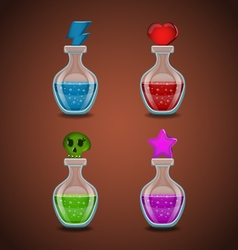 Set bottles with different potions vector