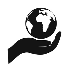 Globe in hand simple icon vector