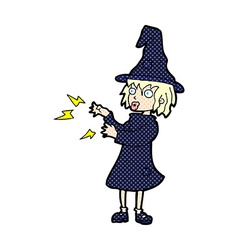 Comic cartoon witch casting spell vector