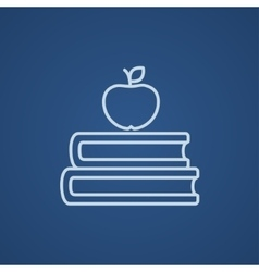 Books and apple on top line icon vector