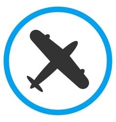 Aeroplane circled icon vector