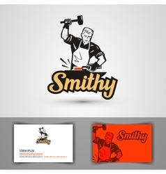 Blacksmith logo forge or forging icon vector