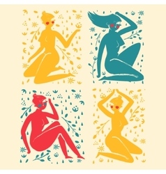 Set of elegant femininity woman silhouettes with vector